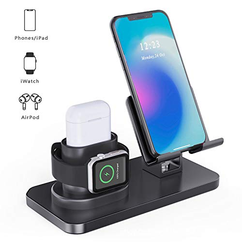 MARRRCH Upgraded 3 in 1 Charging Stand for Apple Watch Series 5/4/3/2/1, Airpods2/1, iPhone Stand(11/11pro/max/Xs/X Max/XR/X/8/8Plus/7 /6S),Tablet Stand(Original Cables Required) (Black)