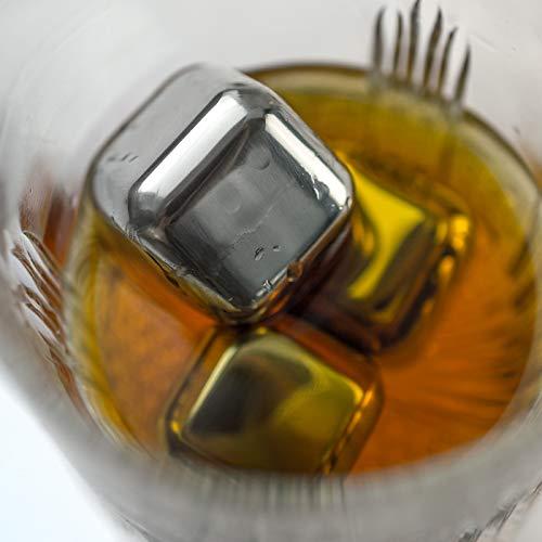 KOBERT GOODS - 4 Whisky-Steine in Farbe Edelstahl Eckig - wiederverwendbare Kühlsteine aus echtem Speckstein od. gebürstetem Edelstahl - Eiswürfelersatz (eckig/ oval) für perfekte Kühlung ohne Verwässerung - mit Stoffbeutel - 4