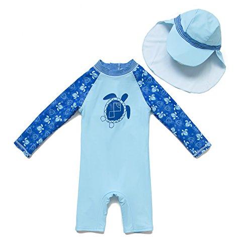 BONVERANO(TM Infant Boy's UPF 50+ Sun Protection L/S One Piece Zip Sun Suit Free Sun Hat (Sea Turtle, 9-12 Months)