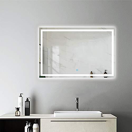 AicaSanitär Led Spiegel Bad 90×60 cm Touch BESCHLAGFREI Sonne Serie Wandspiegel Badspiegel