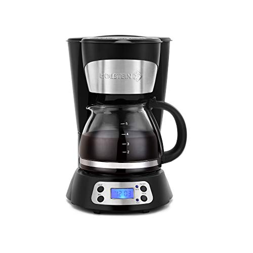 Holstein Housewares - 6-Cup Coffee Maker, Programmable Coffee Machine with an Included Filter, Black