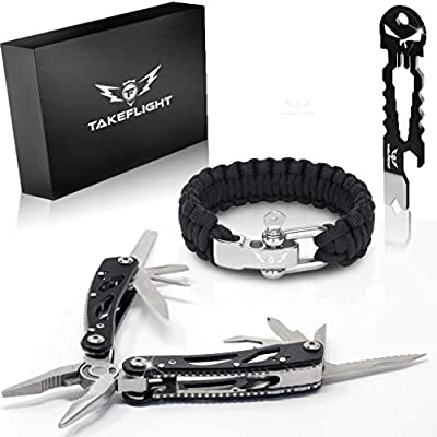 Father's Day Gift for Dad - Multi Tool Survival Gear Kit – Gadgets for Men | EDC Gift Set w/Paracord Bracelet + Multitool + Keychain Bottle Opener, Christmas Stocking Stuffer by TakeFlight (TM)