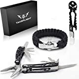 Father's Day Gift for Dad - Multi Tool Survival Gear Kit – Gadgets for Men | EDC Gift Set w/Paracord Bracelet + Multitool + Keychain Bottle Opener, Christmas Stocking Stuffer