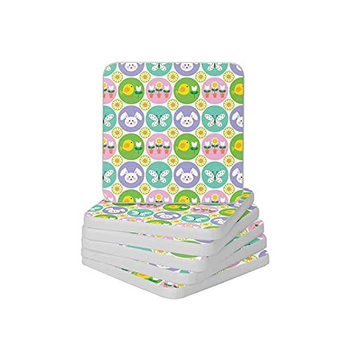 Juego de 6 posavasos absorbentes con diseño de conejo y mariposa, para tipos de tazas y tazas