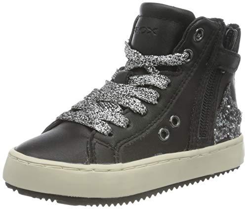Geox J Kalispera Girl A, Zapatillas Altas Niñas, Negro (Black/Dk Silver), 33 EU