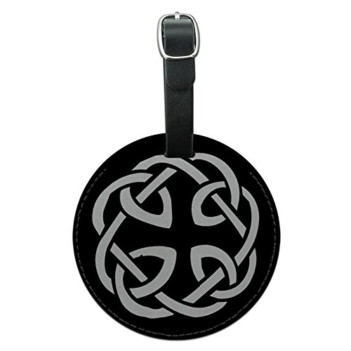 Graphics & More Celtic Knot Round Leather Luggage Id Tag Suitcase Carry-on, Black