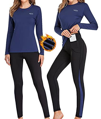 Ropa Interior Térmica Mujer, Camiseta Térmica Mujer Deportes Ropa Interior Funcional Conjuntos Térmicos Termo Invierno Otoño con muy elástica para Running Esquí Montaña Ciclismo Fitness Azul XL
