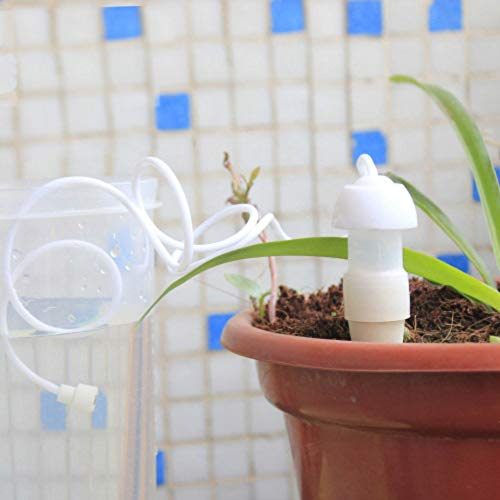 Salinr 水やり当番 2個入 自動散水灌漑キット プランター 水やり 留守 自己散水スプリンクラー 自動給水灌漑 給水ツール ペットボトル対応 繰り返し使用 観葉植物 パティオ植物 野菜 吊り植物 適用 ガーデニング用品