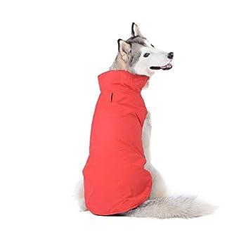 Bwiv Manteau d'hiver pour Chiens Grand Veste Vêtement Imperméable Intérieur Polaire avec Un Ouverture pour la Passage de la Laisse Rouge 3XL