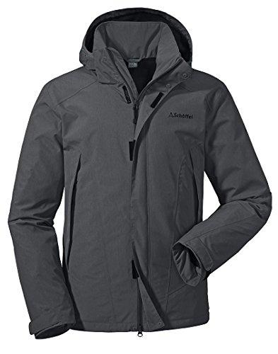 Schöffel Jacket Easy M3, wasser- und winddichte Allwetterjacke für Männer, leichte und atmungsaktive Herren Regenjacke Herren, asphalt, 56