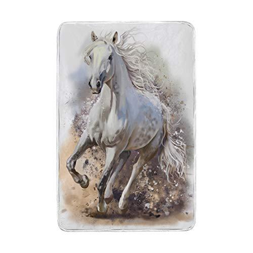 DOSHINE Zwillings-Decke, Kunsttier Pferd, weich, leicht, 152,4 x 228,6 cm, für Sofa, Bett, Stuhl, Büro