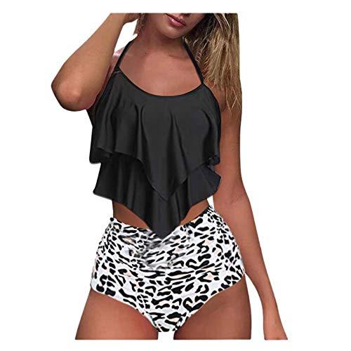 Fangren Swimsuit for Women High Waisted Bikini Cover Ups 2 Piece Bathing Suits Sets Ruffled Flounce Tops Bikini Set D- Gray