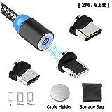 Câble de Charge USB magnétique de Type C avec éclairage LED, câble de Charge Multifonction 3 en 1 pour téléphone Android,...