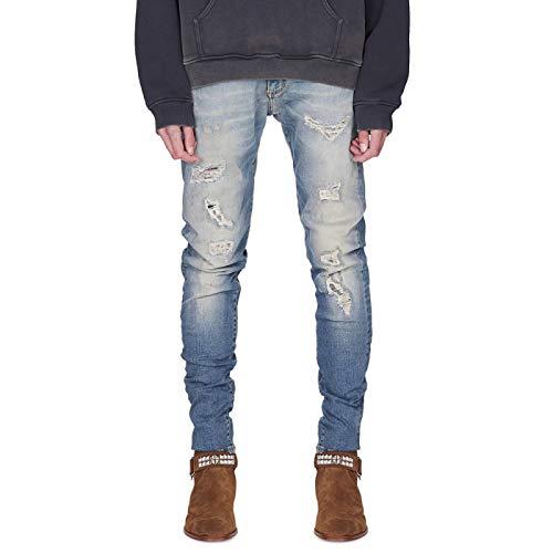Beastle Pantalones Vaqueros para Hombre, Personalidad Retro, Locomotora Rasgada, Pantalones Vaqueros de Moda, Pantalones Vaqueros Casuales elásticos Delgados 34