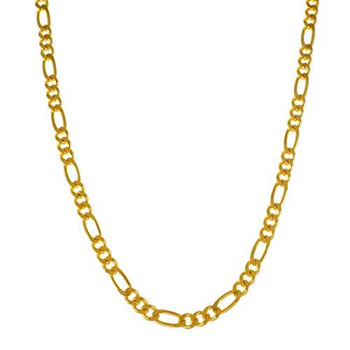 ネックレス メンズ ブランド シルバー 925 シンプル blackdia 18KGP ゴールド フィガロ チェーン ネックレス 幅5.7mm 長さ60cm