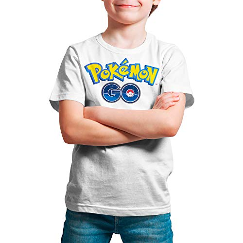 Camiseta Niño - Unisex Pokémon, Pokémon Go (Blanco, 7 años)