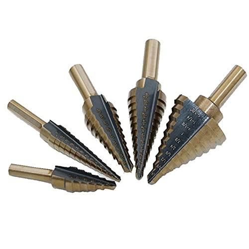 brocas 5PCS 50 Tamaños HSS COBALT Múltiples huellas de paso de cono de cónjeno herramientas de broca brocas con caja de aluminio brocas de metal