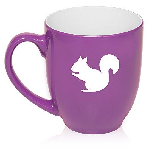 16 oz Large Bistro Mug Ceramic Coffee Tea Glass Cup Squirrel (Purple)