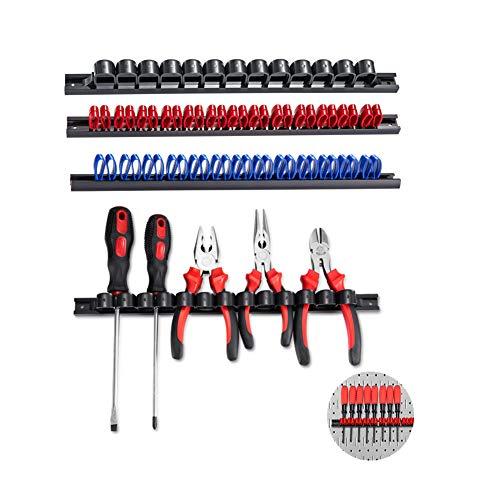 3-H 4 Stück Schraubendreher-Organizer und Schraubenschlüssel, Organizer, Handwerkzeug-Halter, Werkzeughalter/Klammer-Leisten-Set - Inkl. Schrauben und Dübel (schwarz 1 blau 1 rot)