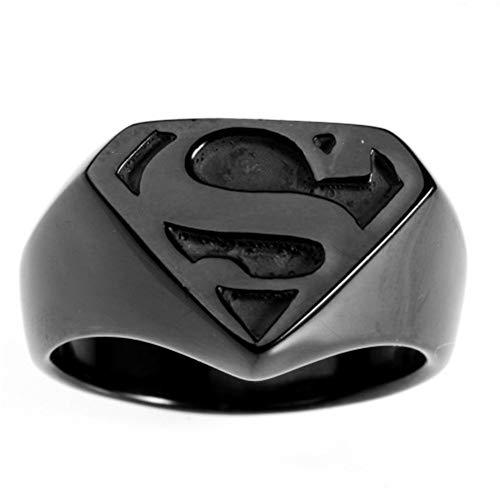 Boansi - Anello da uomo in acciaio al titanio e Acciaio inossidabile, 65 (20.7), colore: Nero , cod. ENHuayifuz-RD0111-Black-11