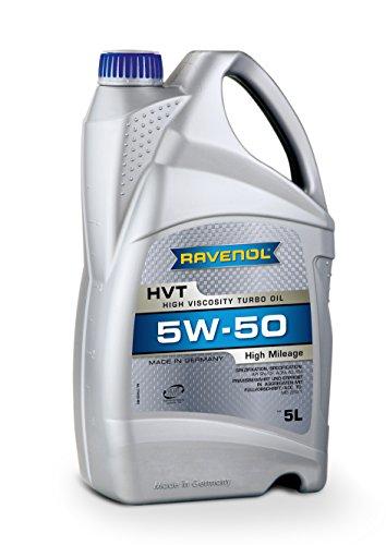 RAVENOL HVT SAE 5W-50 / 5W50 Synthetisches Motoröl für hohe Laufleistung ab ca. 100.000 km (5 Liter)
