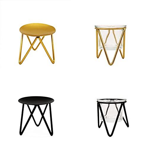 ZLDGYG Candelabros de Metal Huecos Triangulares para el hogar, Adornos Dorados para decoración del hogar, candelabros de Hierro nórdico