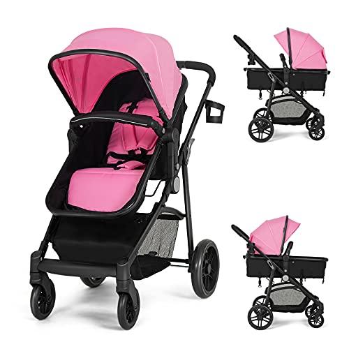 HONEY JOY Baby Stroller for Newborn, High Landscape Infant Stroller & Convertible Carriage Bassinet Pram, Adjustable Canopy, Cup Holder, Storage Basket, Folding Pushchair with Foot Cover (Pink)