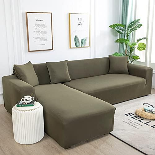 WXQY Fundas de Color Liso Funda de sofá elástica elástica Funda de sofá de protección para Mascotas Funda de sofá de Esquina en Forma de L Funda de sofá con Todo Incluido A23 1 Plaza