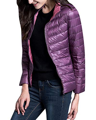 Donna Giacche Piumino Reversibile Cappotto Ultraleggeri Trapuntato Inverno Giacca Viola e Rosa Large