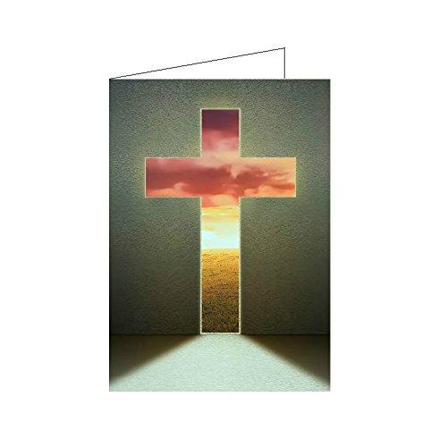 10er Set Christliche Osterkarten Klappkarten DIN A6 - Kreuz in Wand - Grußkarten Ostern, Trauerkarte mit Umschlag