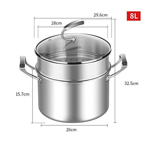 LIANGXX Edelstahl Stockpot Mit Dampfgarer, Kochgeschirr Groß for Kochen Und Dünste, 5,2L Kochtopf Mit Deckel Schweren Suppentopf Großen Kochtopf (Size : 8L+Steamer)