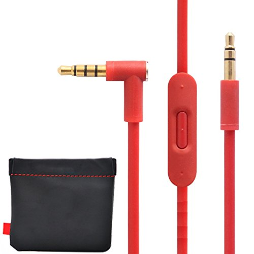 New Version Original Replacement Audio Cable Cord Wire with In-line Microphone and Control + Original OEM Replacement Leather Pouch/Leather Bag for Beats by Dr Dre Headphones Solo/Studio/Pro/Detox/Wireless/Mixr/Executive/Pill (Red)