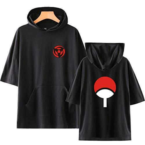 Unisex Sommer Kurzarm Baumwolle Hoodie T-Shirts Hokage Uzumaki Naruto Uchiha Sasuke Kakashi Hatake Maru Udon (1,M)