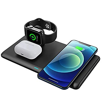 Wireless Charger,3 in 1 Fast Qi Wireless Chargi...