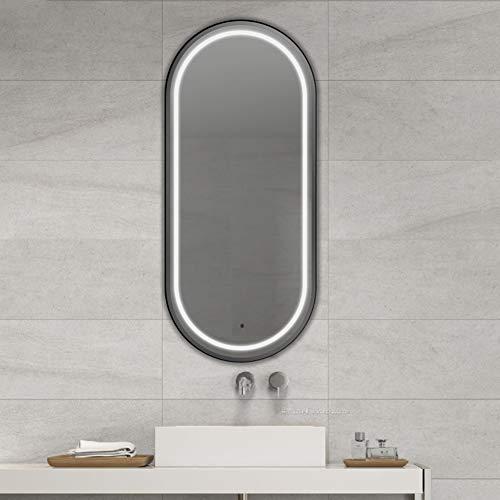 Negro Ovalado Metal Marco con LED Luces Baño Espejo de Pared,50×70CM Anti Niebla Regulable Interruptor Táctil Maquillaje Espejo