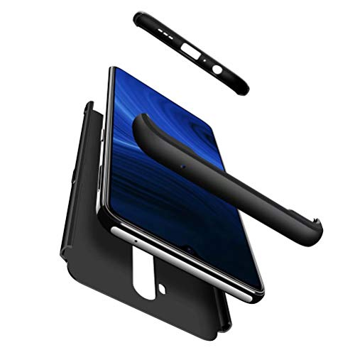 Smfu Hülle compatibile Oppo Realme X2 Pro/Reno Ace Handyhülle Bumper Ultra Dünn Hartschale Hülle 360 Grad Full Schutzhülle 3 in 1 PC Cover Hülle-Schwarz Mit Panzerglas schutzfolie 2 Stüc