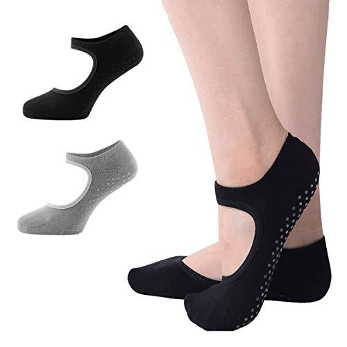 Vockvic 2 Pares de Calcetines de Yoga para Mujeres, Calcetines Antideslizantes, Yoga, Pilates, Bikram, Ballet, Ejercicio, Actividades de Estudio