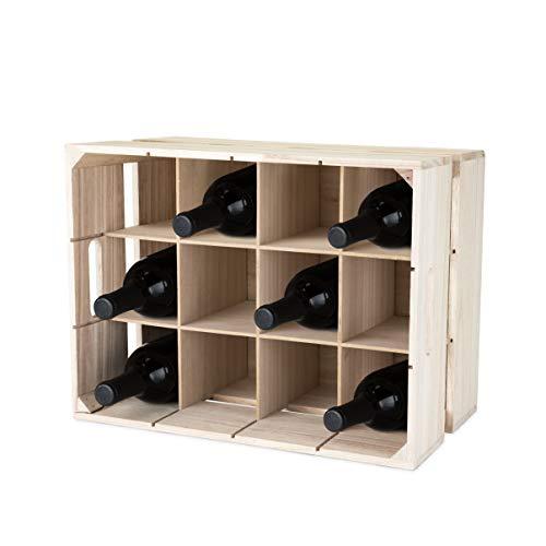 True Holzkiste Weingestell, natürlich, Kunststoff, Mehrfarbig, 12 x 20 x 25 cm, 1 Einheiten