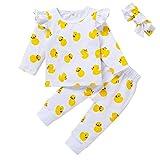 Conjunto de trajes de bebé con estampado de pato amarillo, volantes de manga larga, tops de manga larga+pantalones+banda para el pelo, ropa de salón de 3 a 18 m