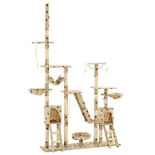 vidaXL Katzenbaum Sisal 230-250cm Pfoten-Aufdruck Beige Kratzbaum Kletterbaum