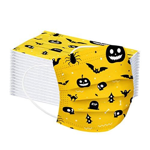 LUCKME 50 Stück Mundschutz 3-lagig, Halloween Einmal Atmungsaktive Mund und Nasenschutz Halstuch Multifunktionstuch für Damen Herren