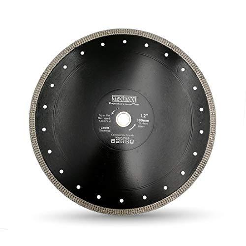 DT-DIATOOL Disco Tronzador Diamante 300 mm x 25,4 mm/20 mm Hoja de Sierra con X Malla Turbo para Corte de Porcelanico Azulejos Mármol Granito Cerámica