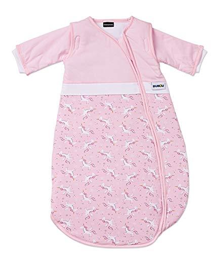 Gesslein 773130 Bubou temperaturregulierender Ganzjahreschlafsack/Schlafsack für Babys/Kinder, Größe 110, rosa mit Einhörnern, rosa