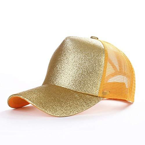 Gorra de bisbol con Cola de Caballo conPurpurina, Gorra Snapback Ajustable, Sombreros de pap para Mujer, Gorras con moo desordenado,Gorra deMalla de Hip Hop-Glitter Gold