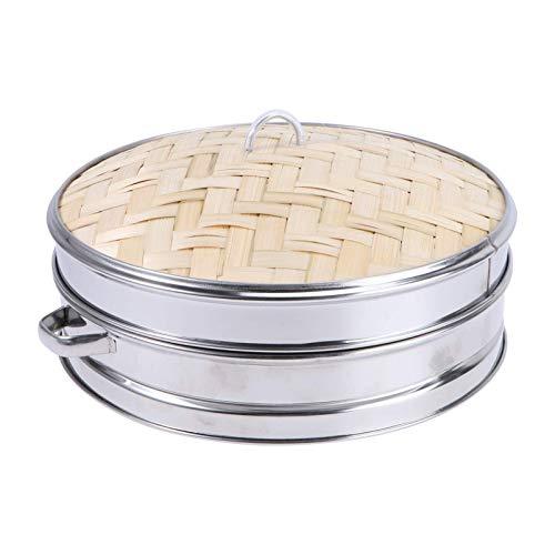 Cabilock 1 Set in Acciaio Inox Piroscafo per Alimenti in bambù Piroscafo da Cucina con Coperchio Cestino per Uova a Vapore Cremagliera a Vapore per Uo