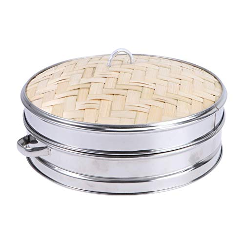 Cabilock 1 Set in Acciaio Inox Piroscafo per Alimenti in bambù Piroscafo da Cucina con Coperchio Cestino per Uova a Vapore Cremagliera a Vapore per Uova in Metallo per La Casa Ristorante