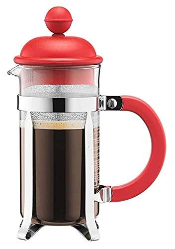 Prasa do kawy Urządzenia kuchenne szklane ręcznie stroić ekspres do kawy domowy mały przenośny czajniczek filtra (Color : Red, Size : 350ML)