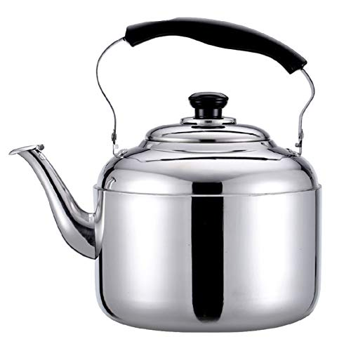 Large Stainless Steel Whistling Tea Kettle for Stove Top,Ergonomic Handle Electrolysis Process Suitable for The Teapot (Color : Silver, Size : 10L)