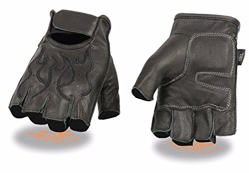 Milwaukee Men's Motorcycle Riding Leather Fingerless Gloves Black Flames Soft Leather (L Regular)
