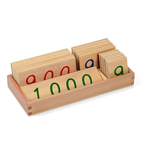 New Sky Enterprises Montessori Math Material Wooden Number Cards 1-1000